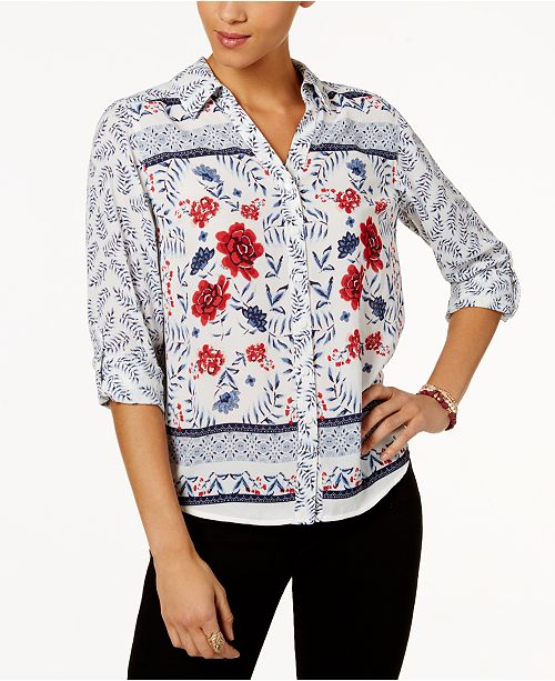 Style & Co Petite Printed Shirt, Created for Macy's