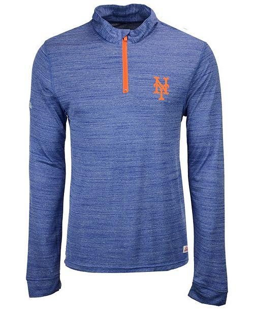 Dynasty Men's New York Mets Poly Twist Mock Quarter-Zip Pullover