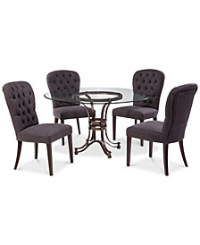 Caspian Round Metal Dining Furniture 5 Pc Set 54 Table