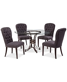 "Caspian Round Metal Dining Furniture, 5-Pc. Set (54"" Table & 4 Side Chairs), Created for Macy's"