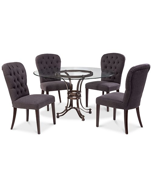 "Furniture Caspian Round Metal Dining Furniture, 5-Pc. Set (54"" Table & 4 Side Chairs), Created for Macy's"
