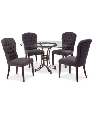 Caspian Round Metal Dining Furniture, 5 Pc. Set (54