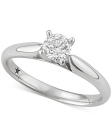 Macy's Star Signature Diamond™ Solitaire Engagement Ring (1/2 ct. t.w.) in 14k White Gold, SI2 Clarity