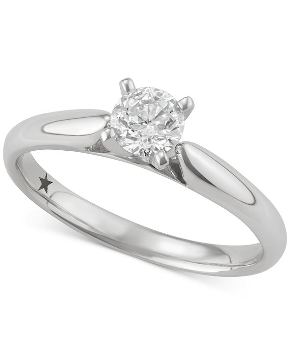 Macy's Star Signature Diamond Solitaire Engagement Ring (1/2 ct. t.w.) in 14k White Gold, SI2 Clarity