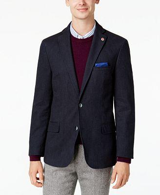 Ben Sherman Men's Slim-Fit Blue Denim Sport Coat with Detachable ...