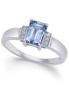 Tanzanite (1 ct. t.w.) & Diamond Accent Ring in 14k White Gold