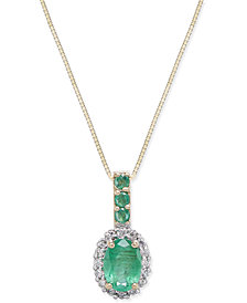 Emerald (9/10 ct. t.w.) & Diamond (1/6 ct. t.w.) Pendant Necklace in 14k Gold