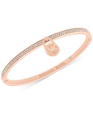 Michael Kors Rose Gold,Tone Pav\u0026eacute; Logo Lock Bangle Bracelet