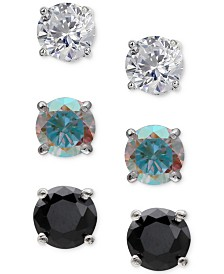 Giani Bernini 3-Pc. Set Cubic Zirconia Stud Earrings in Sterling Silver, Created for Macy's