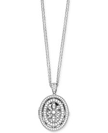Giani Bernini Cubic Zirconia Pavé Oval Locket in Sterling Silver, Created for Macy's