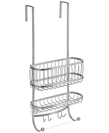 York Silver 2-Tier Shower Caddy with Hooks