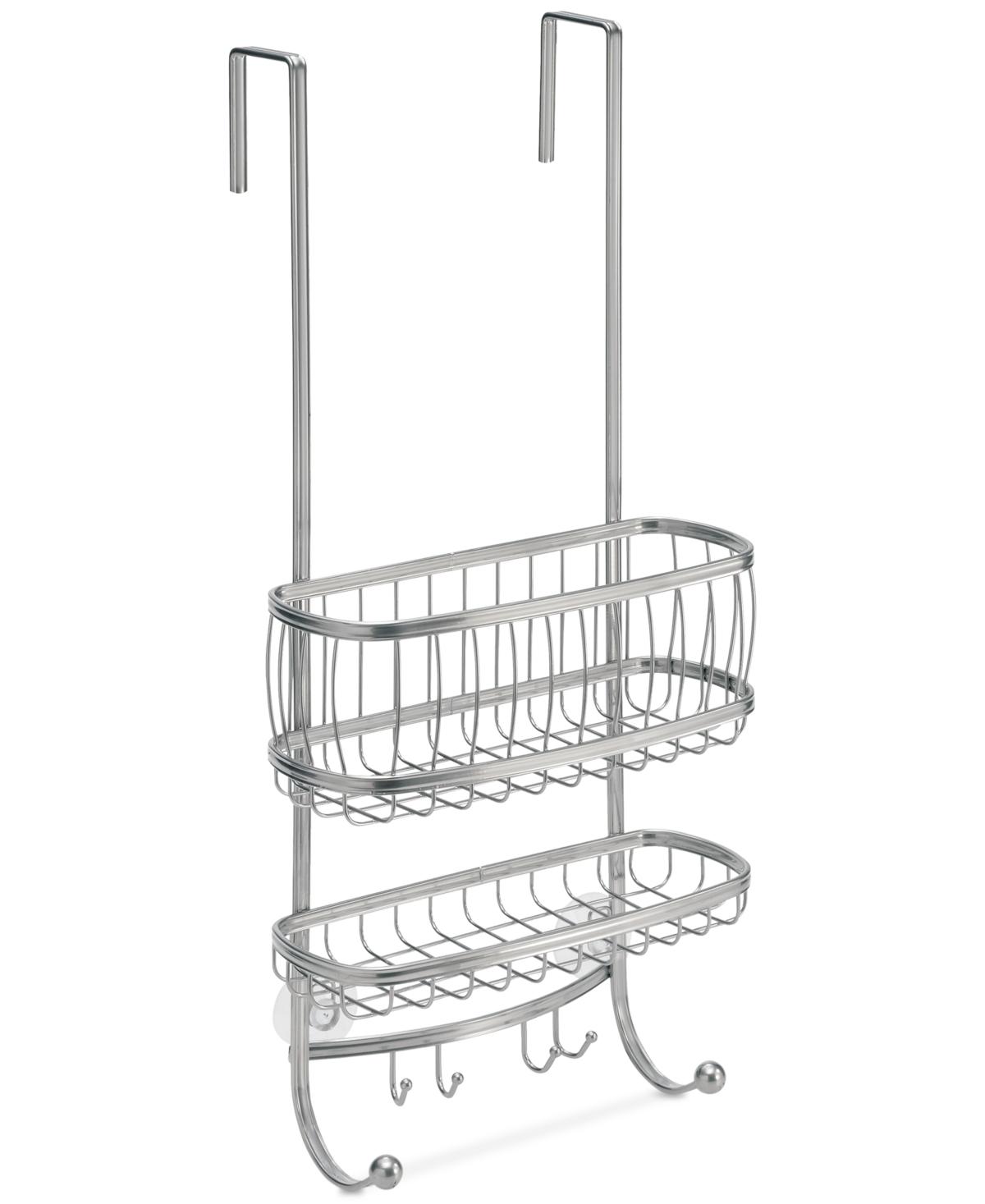 Interdesign York Silver 2-Tier Shower Caddy with Hooks Bedding