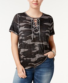 Lucky Brand Plus Size Lace-Up T-Shirt
