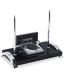 Citizen Executive Suite Silver-Tone Metal & Black Crystal Desk Clock