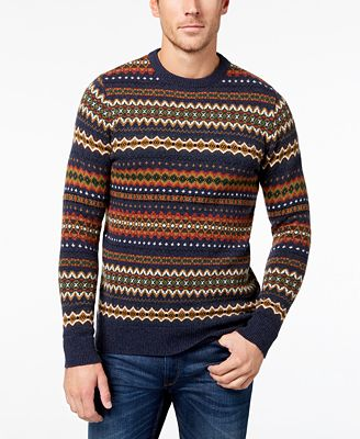 Barbour Men's Wool Fair Isle Sweater - Sweaters - Men - Macy's