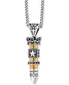 King Baby Men's Bullet Pendant Necklace in Sterling Silver & Brass