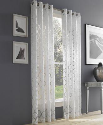 """Geneva White Semi-Sheer 50"""" x 63"""" Grommet Curtain Panel"""