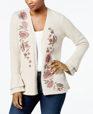 Vintage Sweaters: Cable Knit, Fair Isle Cardigans & Sweaters Style  Co Petite Floral-Embroidered Bell-Sleeve Cardigan Created for Macys $51.99 AT vintagedancer.com