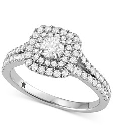 Macy's Star Signature Diamond™ Halo Engagement Ring (1 ct. t.w.) in 14k White or Yellow Gold