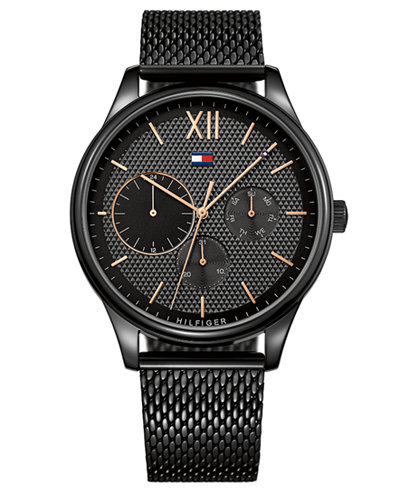 Tommy Hilfiger Men S Black Stainless Steel Mesh Bracelet