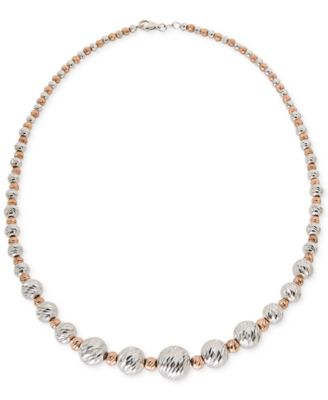 Two-Tone Textured Bead Collar Necklace in Sterling Silver and 18k Rose Gold-Plate, Created for Macy's