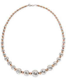 Giani Bernini Two-Tone Textured Bead Collar Necklace in Sterling Silver and 18k Rose Gold-Plate, Created for Macy's