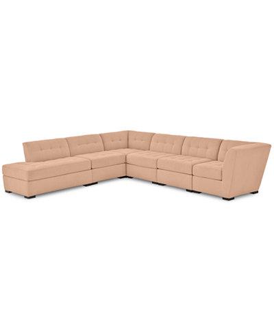 Roxanne II Performance Fabric 6-Pc. L-Shaped Modular Sofa with Bumper - Custom Colors, Created for Macy's