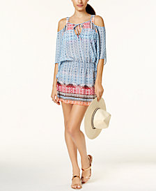 Becca Ikat-Print Cold-Shoulder Tunic Cover-Up