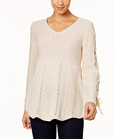 Style & Co Laced-Sleeve Sweater, Created for Macy's