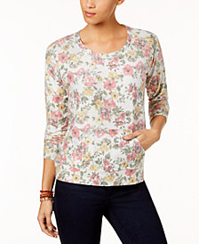 Style & Co Floral-Print Sweatshirt, Created for Macy's