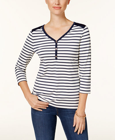 Charter Club Petite Striped 3/4-Sleeve Top, Created for Macy's
