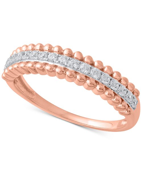 Macy's Diamond Beaded Style Band (1/4 ct. t.w.) in 14k Rose Gold