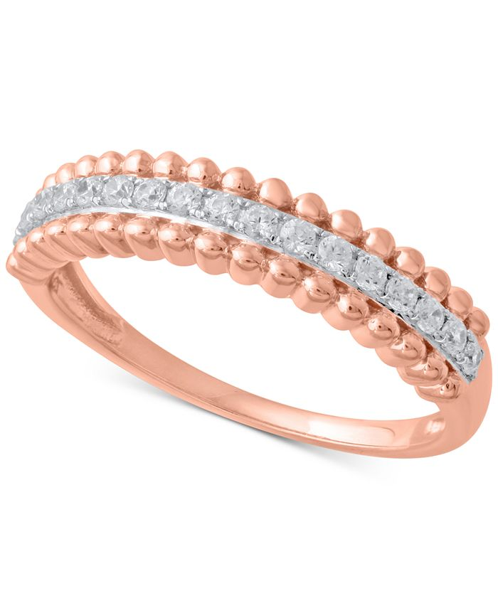 Macy's - Diamond Beaded Style Band (1/4 ct. t.w.) in 14k Rose Gold