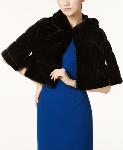 Betsey Johnson Hooded Faux-Fur Cape