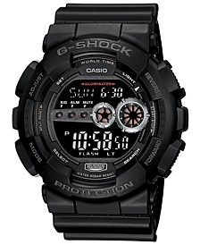 Men's XL Digital Black Resin Strap Watch GD100-1B