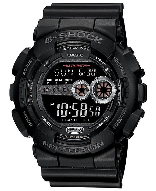 G-Shock Men's XL Digital Black Resin Strap Watch GD100-1B