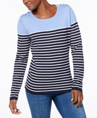 Karen Scott Button Shoulder Striped Sweater, Created For Macyu0027s