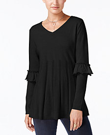 Style & Co Petite Pleated Ruffle-Sleeve Sweater, Created for Macy's