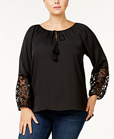 Love Scarlett Plus Size Embellished-Sleeve Tassel Top