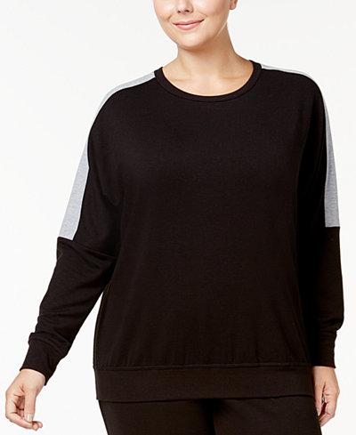 Alfani Plus Size Colorblocked Pajama Top, Created for Macy's