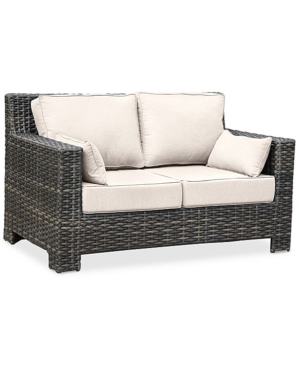 Furniture Viewport Wicker Outdoor Loveseat: with Custom Sunbrella® Colors, Created for Macy's