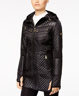Michael Michael Kors Quilted Knit Panel Puffer Coat Coats Women