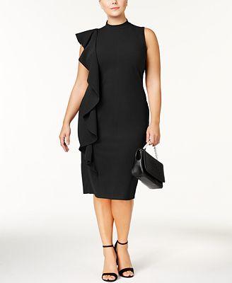 Almost Famous Trendy Plus Size Ruffled Sheath Dress