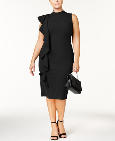 Almost Famous Trendy Plus Size Ruffled Sheath Dress