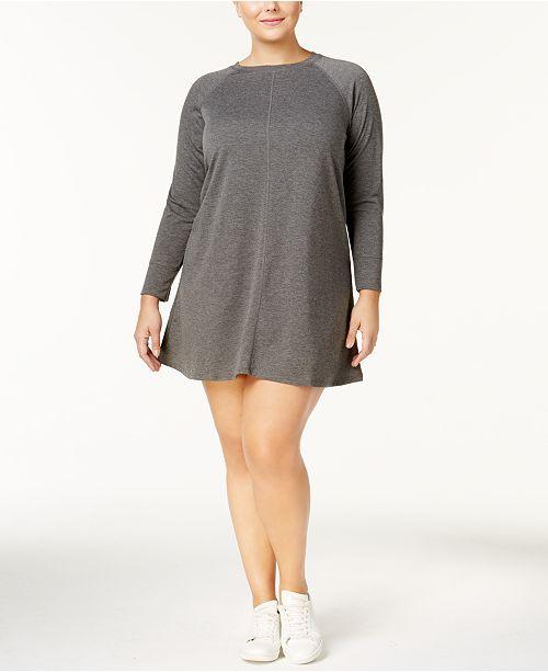 No Comment Trendy Plus Size Lace-Back Sweatshirt Dress