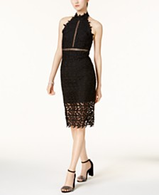 Bardot Lace Illusion Halter Dress
