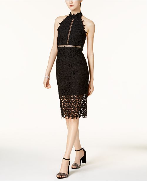 897376ad Bardot Lace Illusion Halter Dress; Bardot Lace Illusion Halter Dress ...