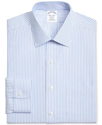 Brooks Brothers Men's Classic/Regular Fit Non-Iron Blue Stripe Broadcloth Dress Shirt