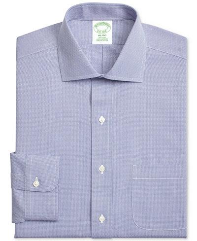 Brooks Brothers Men's Extra-Slim Fit Non-Iron Navy Dobby Dress Shirt