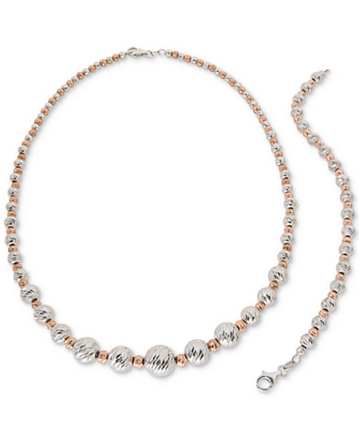 Giani Bernini Beaded Jewelry Set in Sterling Silver & 18k Rose Gold-Plated Sterling Silver, Created for Macy's